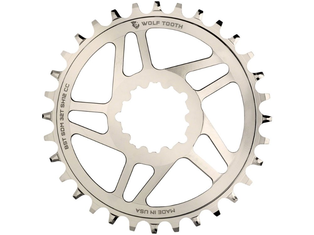 Wolf Tooth Components Drop Stop Direct Mount Boost Chainrings for SRAM Cranks and Shimano 12spd Hyperglide+ Chain 32t Nickel - The Lost Co. - Wolf Tooth Components - SDM32-BST-NI-SH12 - 810006801750 - -