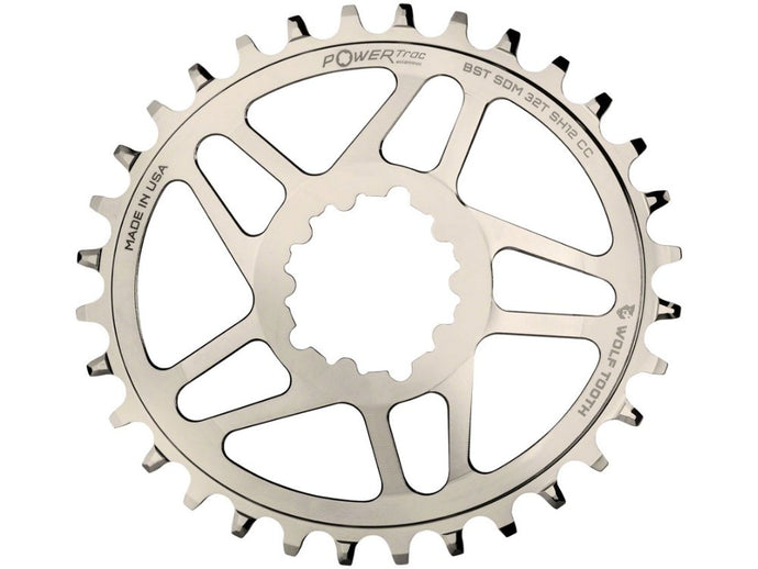 Wolf Tooth Components Elliptical Direct Mount Chainring for SRAM Cranks and Shimano 12spd Hyperglide+ Chains 32t Nickel - The Lost Co. - Wolf Tooth Components - OVAL-SDM32-BST-NI-SH12 - 810006801774 - -