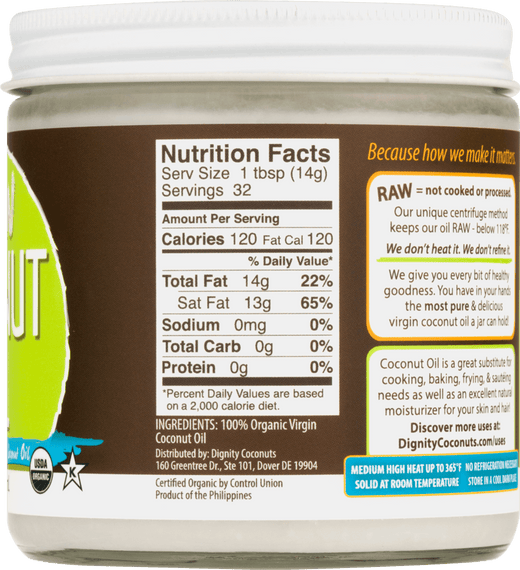 Raw Organic Coconut Oil by Dignity (3-pack) - Shop Ritzfit