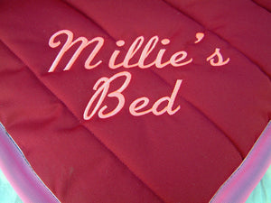 Dog Bed Embroidered Lettering