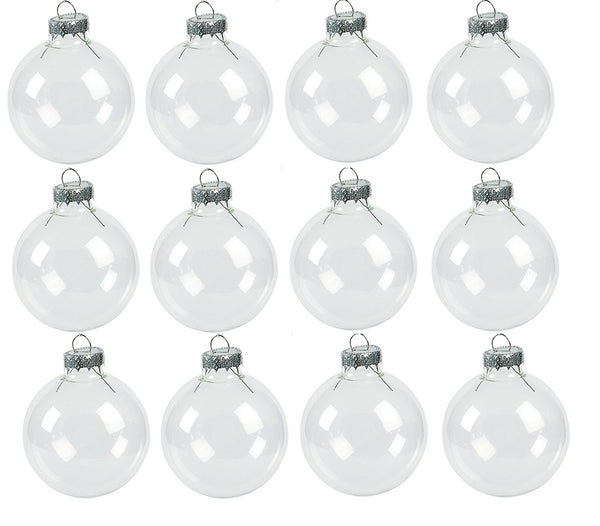 One Dozen - DIY Clear Round Christmas Ornaments