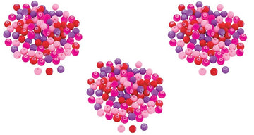 Valentine Rubber Coated Beads 6mm  - 100 beads