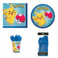 Pokemon Core Snack/Cake Pack for 8 Guests - Plates, Cups, Napkins and Cutlery