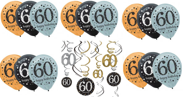 Sixtieth (60th) Birthday Sparkling Celebration Decorating Kit - Shipped USPS First Class