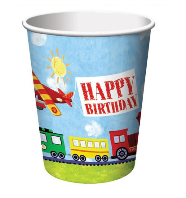 Transportation On the Go Plane, Train, Happy Birthday Cup - 8 ct