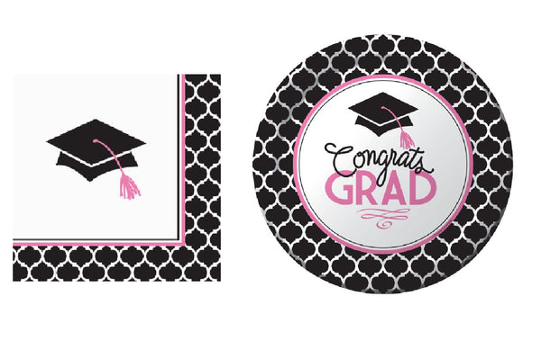 Glamorous Grad Snack/Cake Pack Black with Pink - 18 Guests Shipped Free USPS First Class for Continental US Customers