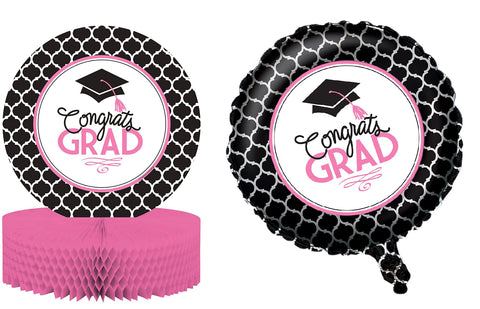 Glamorous Grad Centerpiece and Mylar Balloon - Free Shipping