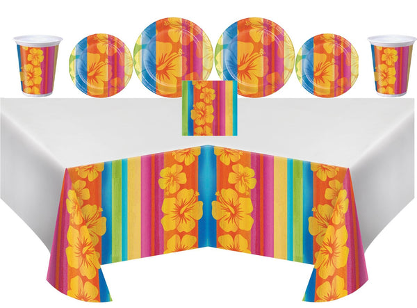 Luau Party Kit featuring vibrant stripes and hibiscus design plates, cups, napkins, tablecovers - 16 Guests
