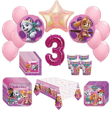 Girl Paw Patrol Skye Everest 3rd Birthday Party Kit Pack Bundle 52 Piece Set