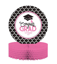 Grad Centerpiece with Honeycomb Base and Glamorous Grad Collection, Black/White/Pink