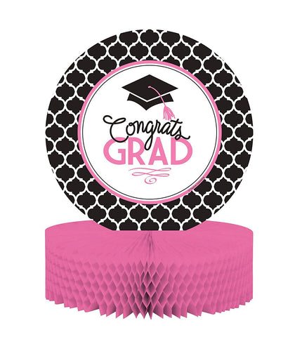 Creative Converting Centerpiece with Honeycomb Base and Glamorous Grad Collection, Black/White/Pink