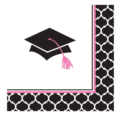 Creative Converting 36 Count Paper Beverage Napkins, Glamorous Grad, Black/White/Pink