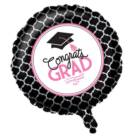 Creative Converting Metallic Balloon with Glamorous Grad Collection, Black/White/Pink