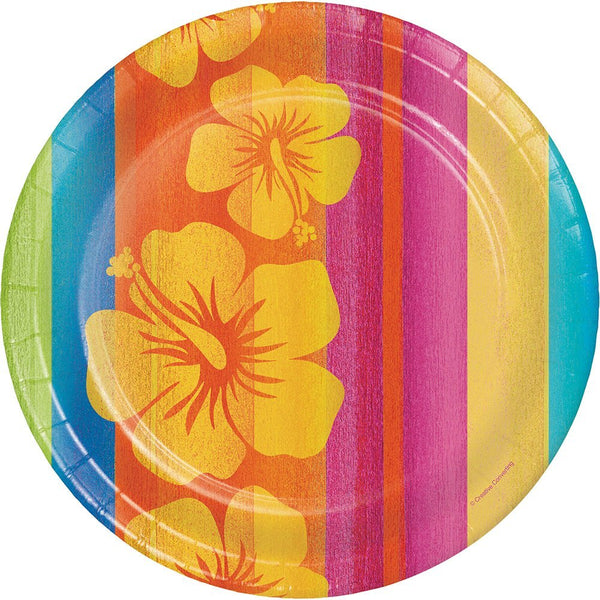 "Luau Birthday Round Paper Plates, 8.75"", Sunset Stripes"
