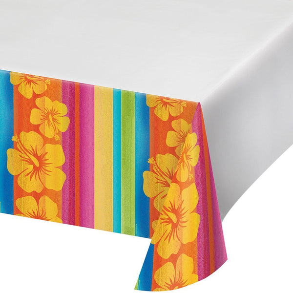 "Creative Converting 722314 Border Print Plastic Tablecover, 54 x 102"", Sunset Stripes - Shipped USPS First Class"