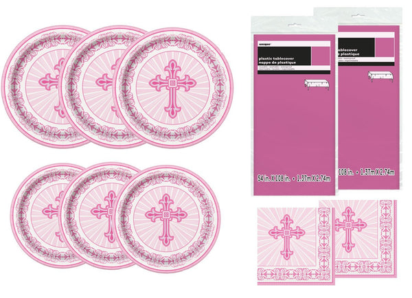 Radiant Cross Pink Religious Deluxe Bundle for 24 Plate Napkins & Tablecovers