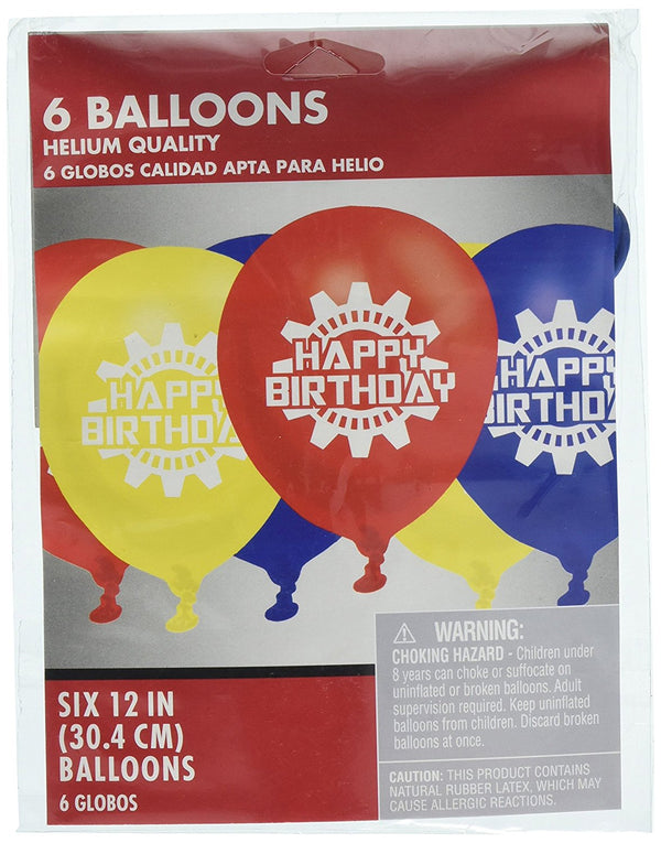"12"" Latex ""Happy Birthday"" Balloon Assortment - Red, Yellow, Blue, Sold Flat - 6 Balloons"