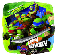 "Teenage Mutant Ninja Turtle Birthday Mylar Balloon - 17"" Sold Flat"