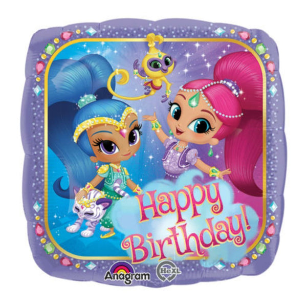 "17"" Shimmer and Shine Happy Birthday Mylar Balloon  - Helium Quality - Self Sealing Valve"