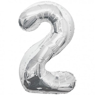 "34"" Jumbo Number 2 Balloon - Silver - Sold Flat"