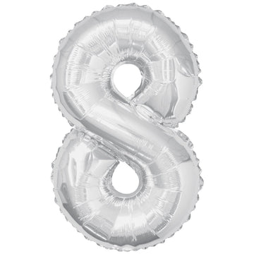 "34"" Jumbo Number 8 Balloon - Silver - Sold Flat"