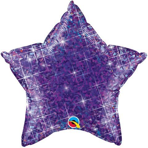 "Purple Holographic Star Shaped 20"" Mylar Foil Balloon  - Each"