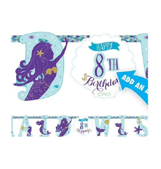Mermaid Wishes Under the Sea Customizable Age Banner - 10.5'