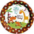 "Jungle Animals Baby Shower 10 1/2"" Dinner Plate - Paper- 8 Count"