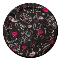 "Bachelorette Bridal Bash - Black with Pink - Dessert Plates 6 7/8"" - 8 count Paper"