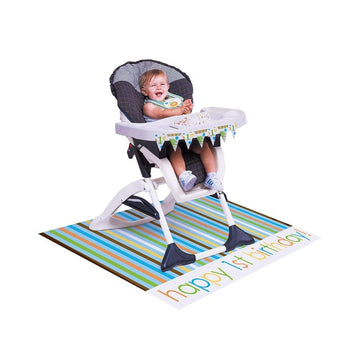 Boys Fun Striped Plastic High Chair kit with Mini Flag Banner, Floor Mat, and Bib