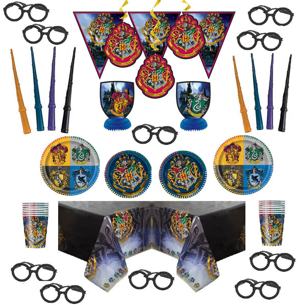 Harry Potter Party Kit for 16 Guests - Plates, Cups, Napkins, Decorations, wands, and glasses - Shipped USPS Priority