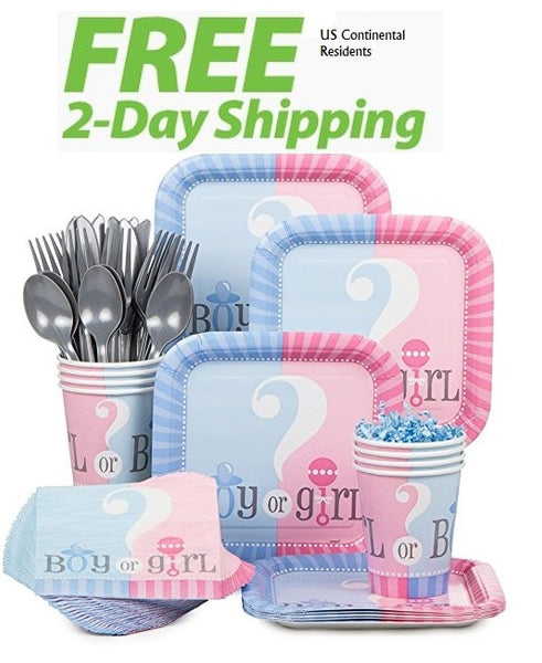 Baby Gender Reveal Party Kit for 18 Guests - Shipped Fedex Express