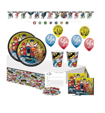 DC Comics Justice League Superhero Birthday Party Supplies with Banner