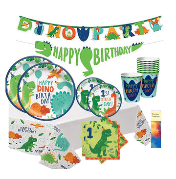 Dinosaur First Birthday Party Supplies with Banner
