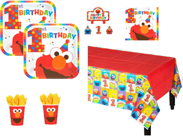 Sesame Street Elmo First Birthday Party Kit for 16 Guest