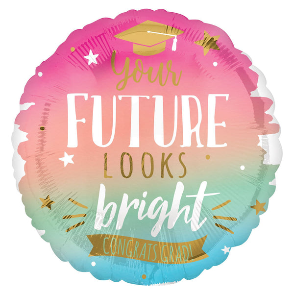 "You're Future Looks Bright Congrats Grad - Foil Balloon - 28"" Sold Flat"