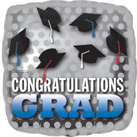 "2  - Congratulations Grad Dots - Silver Dots - With Mortar Boards - 18"" Sold Flat"