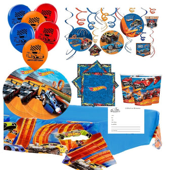 Hot Wheels Birthday Party Supplies for 16 Guests with Balloons