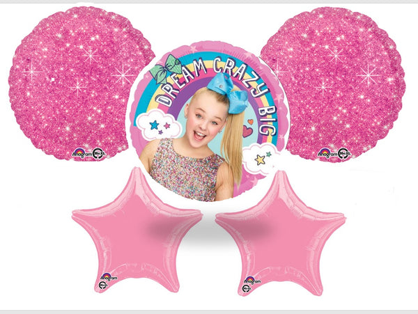 JoJo Siwa Birthday Balloon Bouquet - 5 Foil Mylar Balloons- Shipped USPS First Class