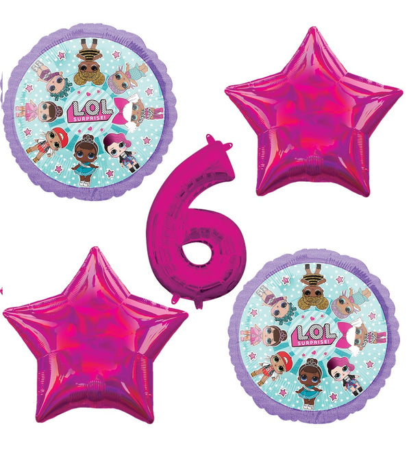 LOL 6th Birthday Balloons - Sold Flat