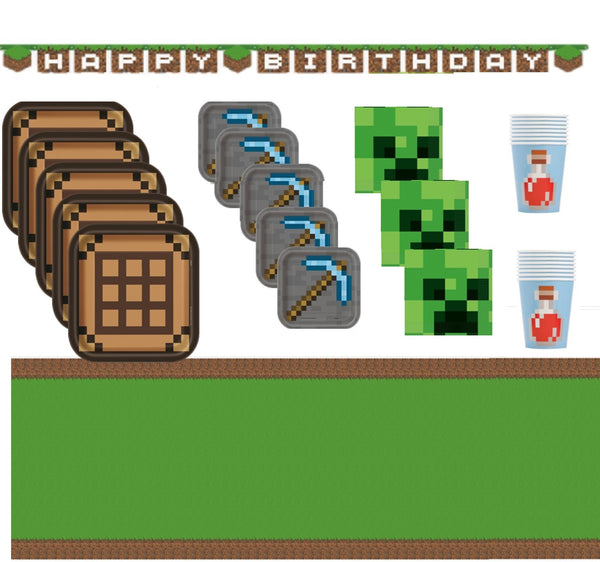 Minecraft Birthday Party Supplies for 16 with Banner