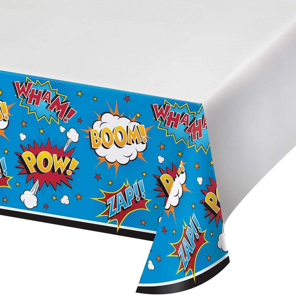 Superhero Slogan Pow Zap Boom Tablecover - 3 Count