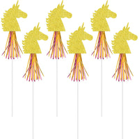 Magical Gold Glitter Unicorn on Wand - 12 Wands included