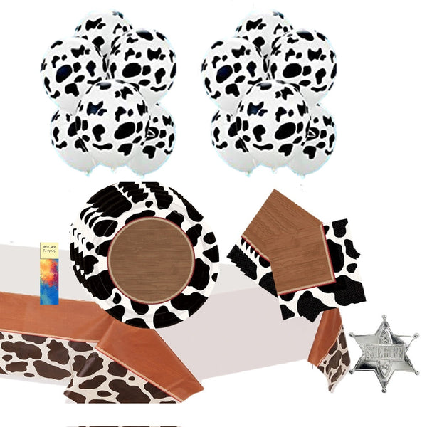 Western Cowboy Party Supplies with Cow Print Balloons