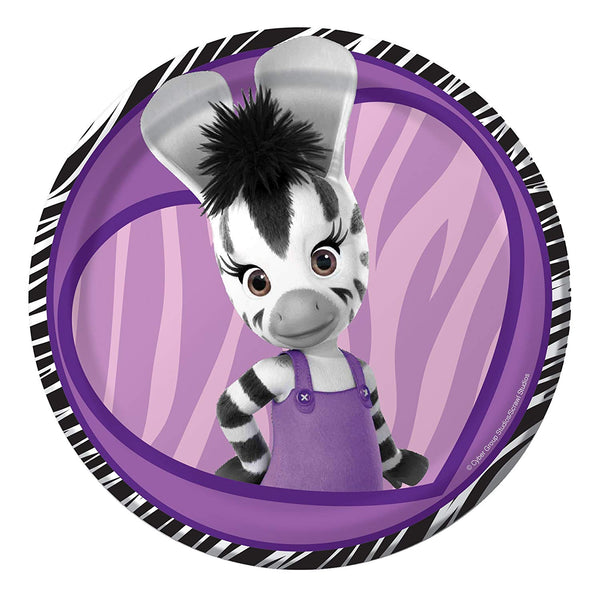 "Zou Elzie Zebra Birthday Party Dessert Plate - 7"" - 8 Ct"