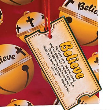 Believe Christmas Bell Gift Bag - 12 pieces