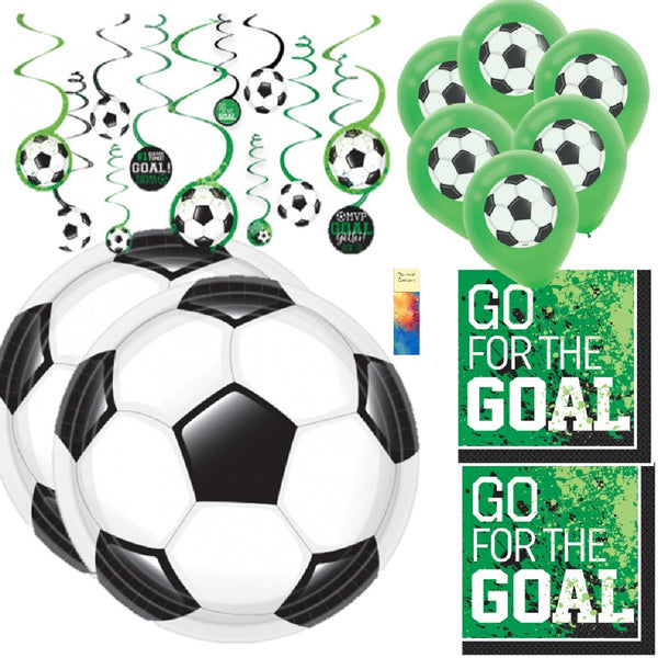 Soccer Party Supplies for 18 with Swirls and Balloons