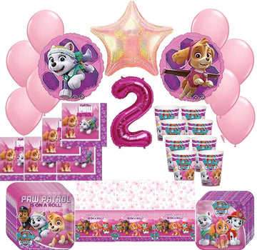 Girl Pups Paw Patrol Skye & Everest 2nd Birthday Party Pack 52pc