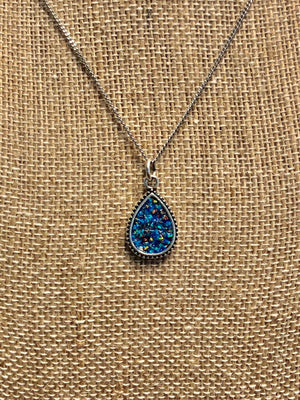 Black and Blue Opal Necklace