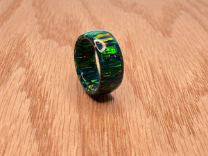 Cold Black Fire Solid Opal Ring